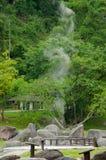 Vapor de las aguas termales, Tailandia imagen de archivo