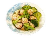 Vapor do camarão & do cogumelo & dos bróculos Fotografia de Stock Royalty Free