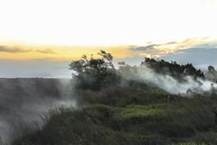 Vapor do vulcão na paisagem de Volcano National Park fotos de stock