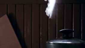 Vapor jet. The vapor jet escaping from a pan stock footage