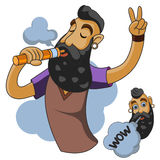Vapor man. Man with vape and cloud. Stock Photos