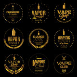 Vapor Shop icons. Set of vapor shop and electronic cigarette icons Royalty Free Stock Photography