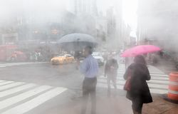 Vapor from street underground in NYC royalty free stock photos