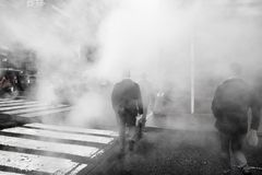 Vapor from street underground in NYC stock photo