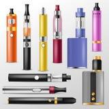 Vapor vector vaping device and modern vaporizer e-cig illustration set of vapes and cigarette isolated on white. Background Royalty Free Stock Image
