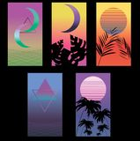 Vapor wave vector set of posters vector illustration