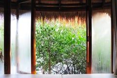 Vapore acqueo sulle finestre di mattina Immagine Stock