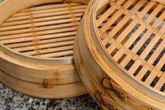 vapore cinese fatto con bambù. Fotografia Stock Libera da Diritti