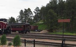 Vapore fuoriuscente rosso del treno a vapore immagine stock