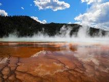 Vapore sulla grande primavera prismatica, parco nazionale di Yellowstone Fotografie Stock Libere da Diritti