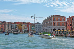 Vaporetto and boats in Grand Canal. Venice, Italy Stock Photography