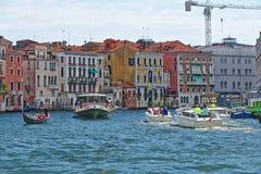 Vaporetto, gondola and boats with passengers Royalty Free Stock Photo