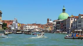 Vaporetto and motorboats moving down Grand Canal in Venice, transportation. Stock photo royalty free stock images