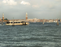 Vaporetto navigating in Venice. Lagoon Stock Images