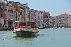 Vaporetto with passengers in Grand Canal. Venice, Italy Stock Photography