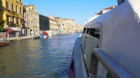 Vaporetto sailing on Grand Canal in Venice, view on houses, sightseeing. Stock footage stock video footage