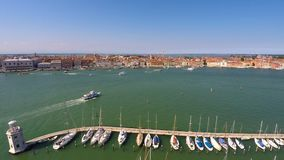 Vaporetto sailing near yacht club in Venice, cruise tour on Grand Canal, tourism. Stock footage stock footage