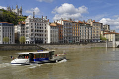 Vaporetto on Saone River in Lyon historic center Royalty Free Stock Image