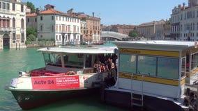 Vaporetto stop on the Grand Canal in Venice. Venice, Italy - June 17, 2018: Ca`Rezzonico Vaporetto water bus stop on the Grand Canal in Venice stock footage