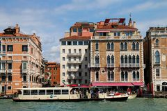 Vaporetto water public bus moving on Grand Canal in Venice, It Stock Photos