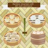 Vapori di bambù con il dim sum e il baozi illustrazione vettoriale