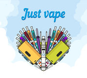 Vaporizer and vaping accessories a heart form Royalty Free Stock Photos