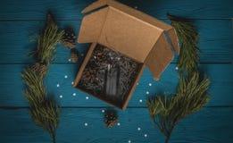 Vaporizzatore nero da un contenitore di regalo Fotografia Stock Libera da Diritti