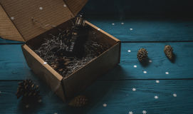 Vaporizzatore nero da un contenitore di regalo Immagini Stock