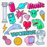 Vaporwave少年与恐龙、计算机和冰淇凌的样式乱画 库存例证