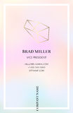 Vaporwave business card with a gold crystal logo Royalty Free Stock Photography