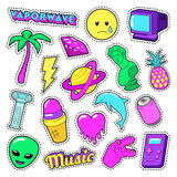 Vaporwave Fashion Funky Elements with Heart, Icecream and Planet for Stickers, Badges Stock Photos