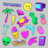 Vaporwave Fashion Funky Elements with Heart, Icecream and Planet for Stickers, Badges. Vector doodle Stock Photos