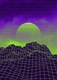 Vaporwave landscape with rocks royalty free stock photo