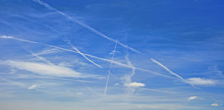 Vapour trails Royalty Free Stock Photos