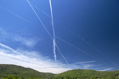 Vapour Trails, Rhone Valley, France Royalty Free Stock Photos