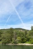 Vapour Trails, Rhone Valley, France Royalty Free Stock Photo