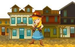 Vaqueira ou vaqueiro - oeste selvagem - ilustração para as crianças Fotos de Stock Royalty Free
