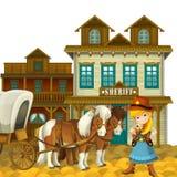 Vaqueira ou vaqueiro - oeste selvagem - ilustração para as crianças Imagens de Stock Royalty Free