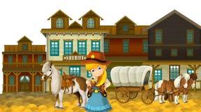 Vaqueira ou vaqueiro - oeste selvagem - ilustração para as crianças Fotos de Stock