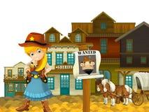 Vaqueira ou vaqueiro - oeste selvagem - ilustração para as crianças Foto de Stock