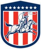 Vaqueiro americano Horse Lasso Shield do rodeio retro ilustração royalty free