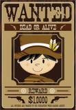 Vaqueiro bonito Wanted Poster dos desenhos animados Fotografia de Stock Royalty Free