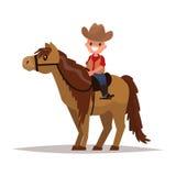Vaqueiro do menino a cavalo Ilustração do vetor Fotos de Stock