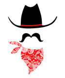 Vaqueiro With Mustache e Bandana ilustração stock