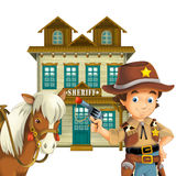 Vaqueiro - oeste selvagem - ilustração para as crianças Imagens de Stock