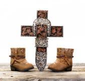 Vaqueiro Prayer Cross imagens de stock