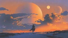 Vaqueiro que monta um cavalo contra o céu do por do sol ilustração royalty free