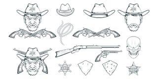Vaqueiro Set para o projeto Chapéu de vaqueiro tirado mão Homem do personagem de banda desenhada no rifle retro ocidental selvage ilustração stock