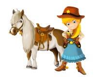 Vaqueiro - vaqueira - oeste selvagem - ilustração para as crianças Foto de Stock