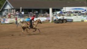 Vaqueiros do rodeio - tambor das vaqueiras que compete no movimento lento - grampo 2 de 5